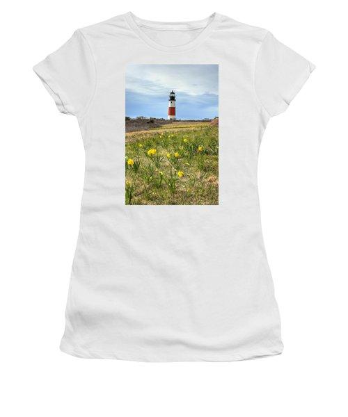 Sankaty Lighthouse Nantucket Women's T-Shirt (Athletic Fit)