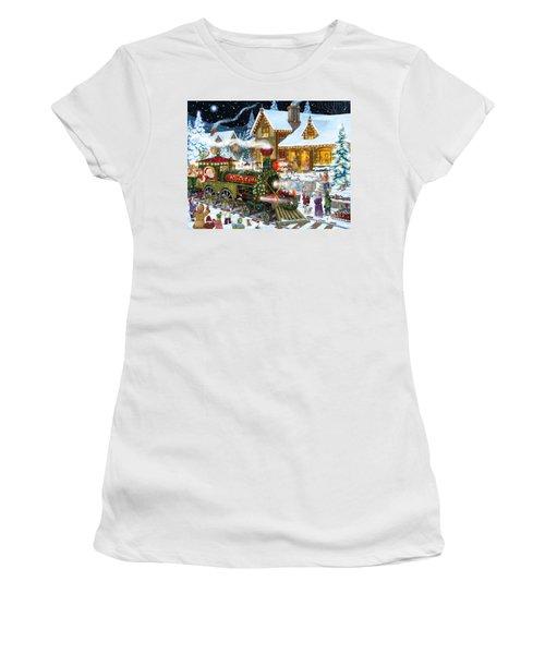Santa Arrives In Rudolph Train Women's T-Shirt