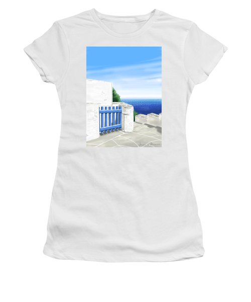 Santorini Women's T-Shirt (Junior Cut) by Veronica Minozzi