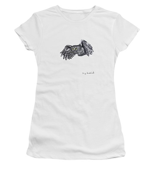 Women's T-Shirt (Junior Cut) featuring the drawing Saw-whet Owl by Terry Frederick