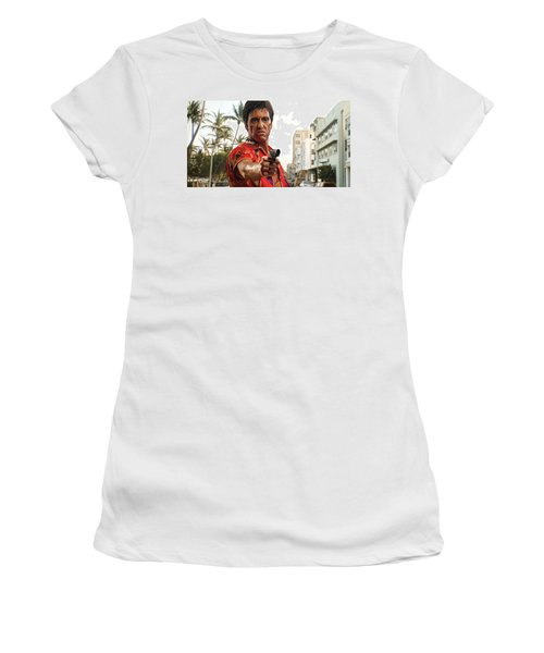 Women's T-Shirt (Junior Cut) featuring the painting Scarface Artwork 2 by Sheraz A