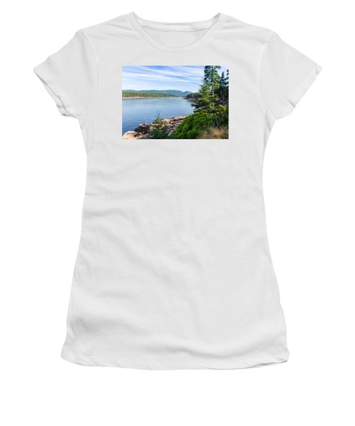 Women's T-Shirt (Athletic Fit) featuring the photograph Scenic Cove At Acadia National Park by John M Bailey