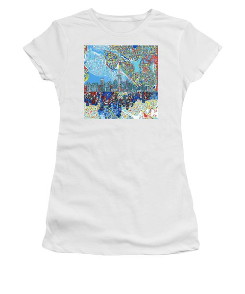 Seattle Skyline Abstract 7 Women's T-Shirt (Athletic Fit)