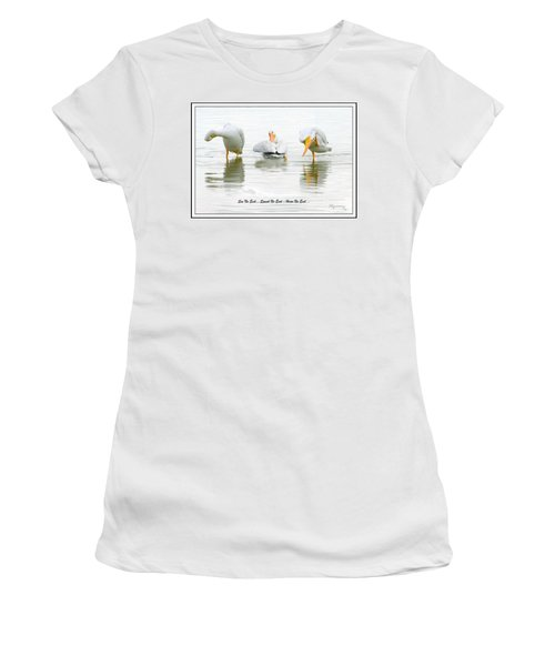 Women's T-Shirt (Junior Cut) featuring the photograph See No Evil...speak No Evil... Hear No Evil by Mariarosa Rockefeller