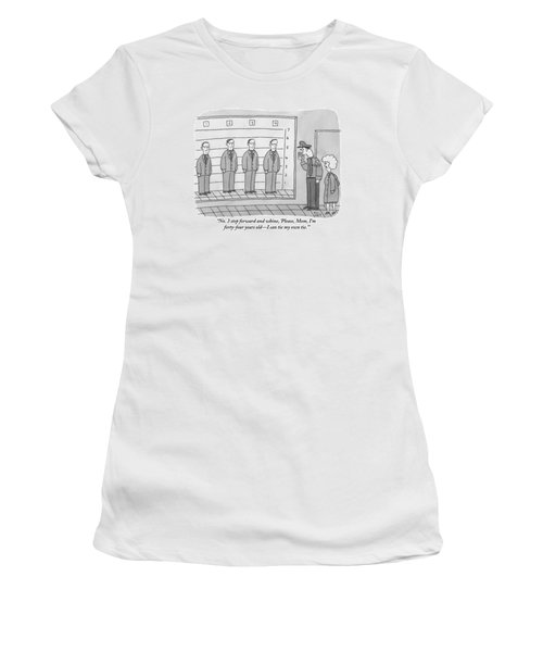 Several Men Dressed In Suits Stand In A Suspect Women's T-Shirt