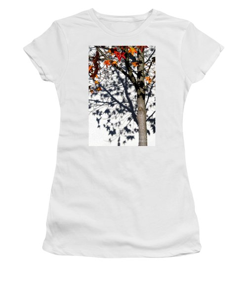 Women's T-Shirt (Junior Cut) featuring the photograph Shadows Of Fall by CML Brown