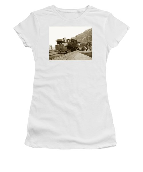 Women's T-Shirt (Junior Cut) featuring the photograph Shay No. 498 At The Summit Of Mt. Tamalpais Marin Co California Circa 1902 by California Views Mr Pat Hathaway Archives