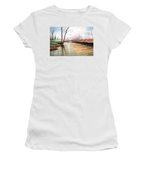 Women's T-Shirt (Junior Cut) featuring the pastel Shelby Stream by Stacy C Bottoms