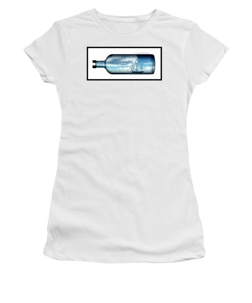 Women's T-Shirt (Junior Cut) featuring the digital art Ship In Bottle... by Tim Fillingim
