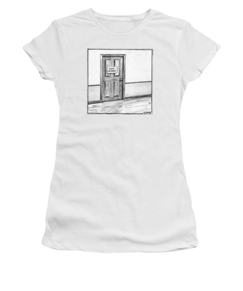 Shut Door In A Hallway With A Sign That Read Gone Women's T-Shirt