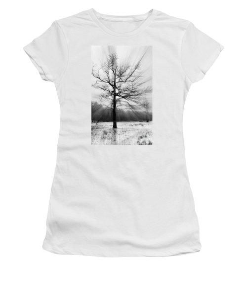 Single Leafless Tree In Winter Forest Women's T-Shirt