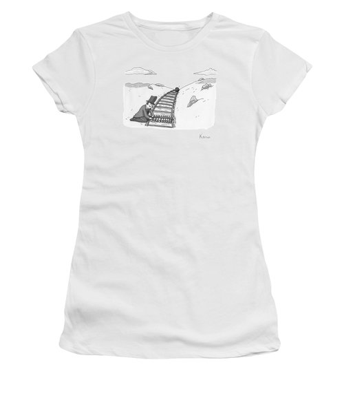 Sinister Looking Man Ties Bowling Pins To A Set Women's T-Shirt