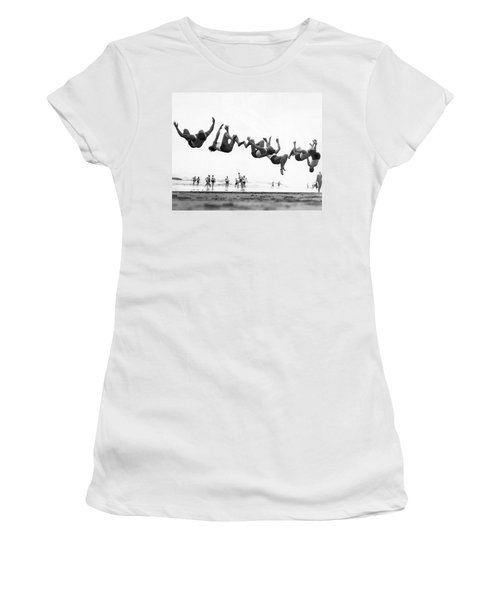 Six Men Doing Beach Flips Women's T-Shirt