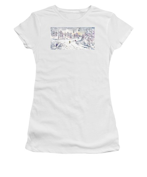 Skiing In The Dolomites In Italy 01 Women's T-Shirt