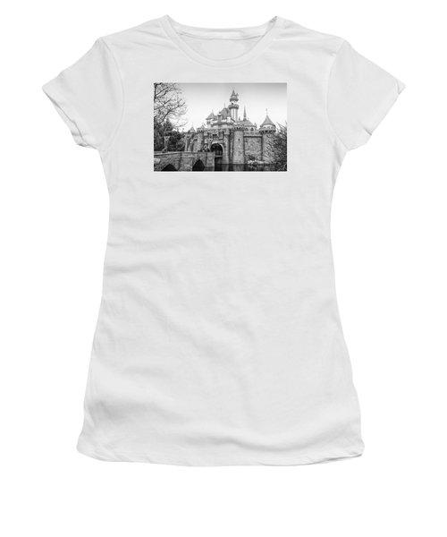 Sleeping Beauty Castle Disneyland Side View Bw Women's T-Shirt (Junior Cut) by Thomas Woolworth