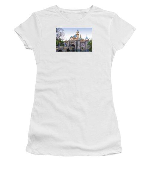 Sleeping Beauty Castle Disneyland Side View Women's T-Shirt (Junior Cut) by Thomas Woolworth
