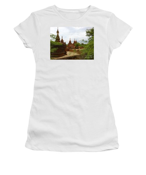 Women's T-Shirt (Junior Cut) featuring the photograph Smaller Temples Next To Dhammayazika Pagoda Built In 1196 By King Narapatisithu Bagan Burma by Ralph A  Ledergerber-Photography