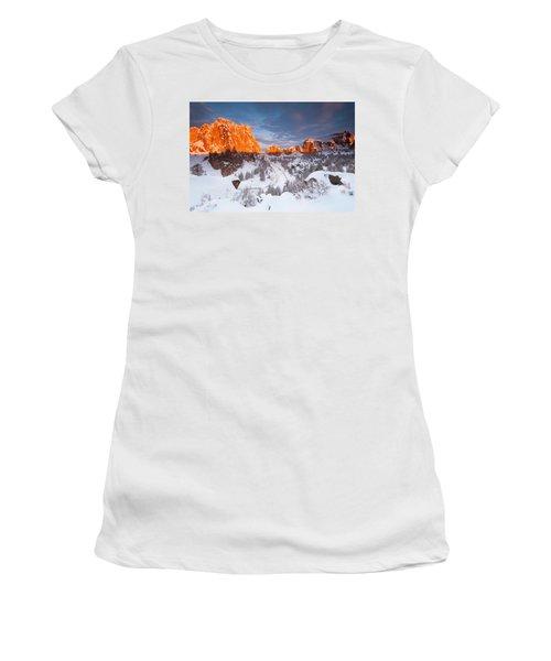 Smith Rock Snow Storm Women's T-Shirt