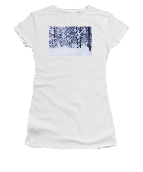 Snow-dappled Woods Women's T-Shirt