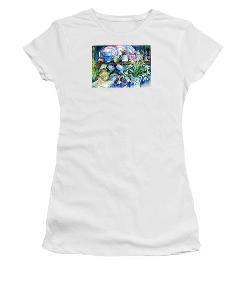 Snowdrops On A Kitchen Dresser Women's T-Shirt (Athletic Fit)