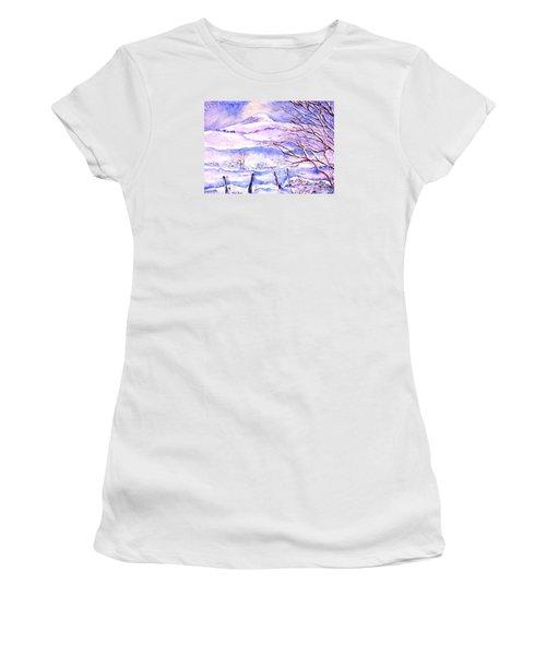 Snowfall On Eagle Hill Hacketstown Ireland  Women's T-Shirt (Junior Cut) by Trudi Doyle