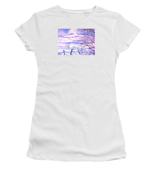 Snowfall On Eagle Hill Hacketstown Ireland  Women's T-Shirt (Athletic Fit)
