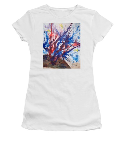 Soft Coral Splatter Women's T-Shirt (Athletic Fit)