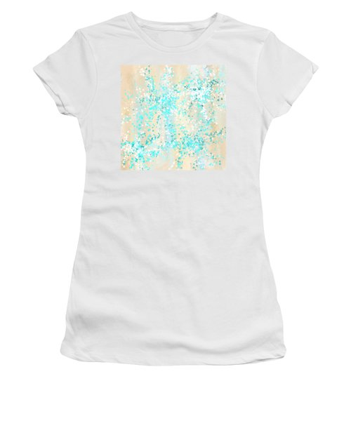 Splashes Of Teal- Teal And Cream Wall Art Women's T-Shirt