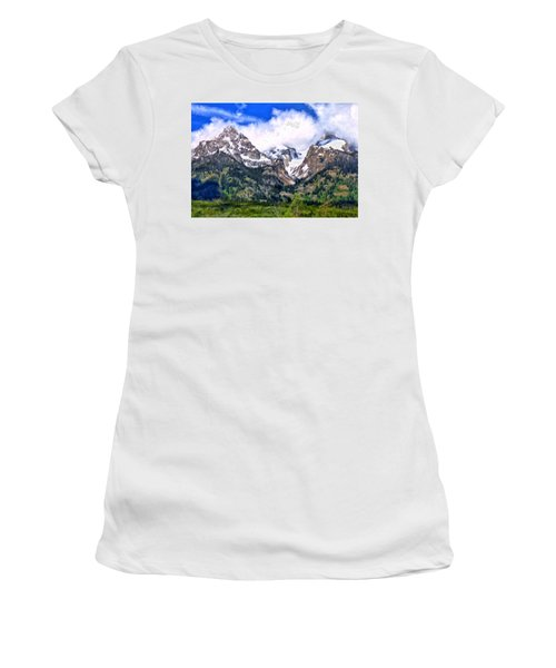 Women's T-Shirt (Junior Cut) featuring the painting Spring In The Grand Tetons by Michael Pickett