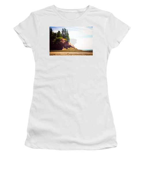 Women's T-Shirt (Junior Cut) featuring the photograph St. Martin's Sea Caves by Sara Frank