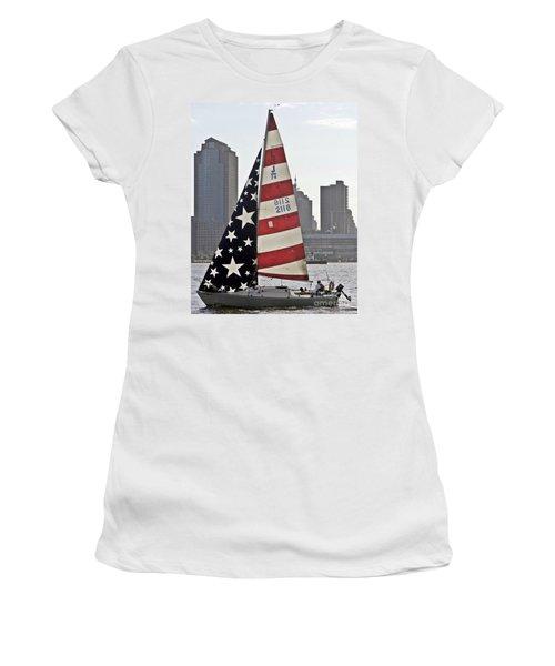 Women's T-Shirt (Junior Cut) featuring the photograph Star Spangled Sail  by Lilliana Mendez