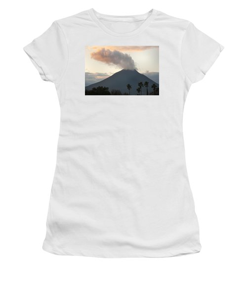 Steaming Volcano At Sunset Mount Women's T-Shirt