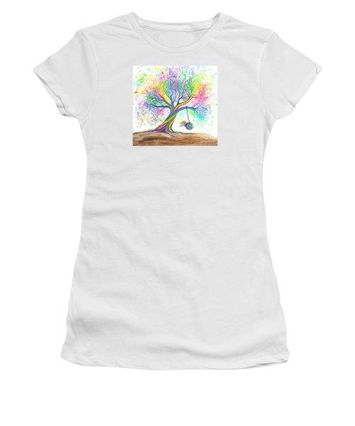 Still More Rainbow Tree Dreams Women's T-Shirt (Junior Cut) by Nick Gustafson