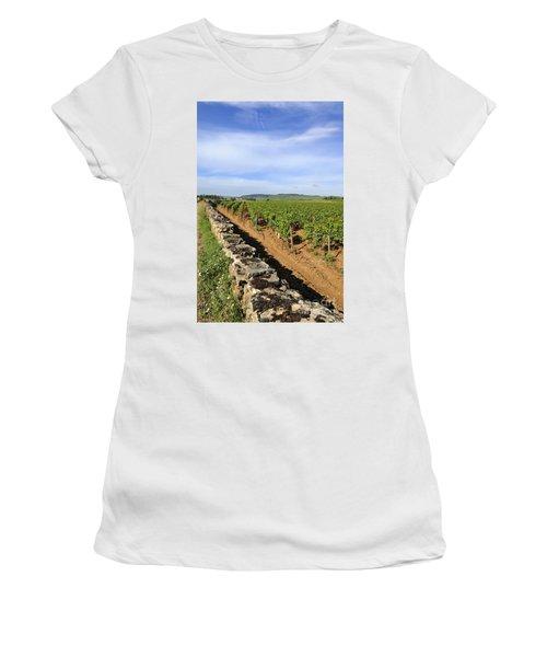 Stone Wall. Vineyard. Cote De Beaune. Burgundy. France. Europe Women's T-Shirt