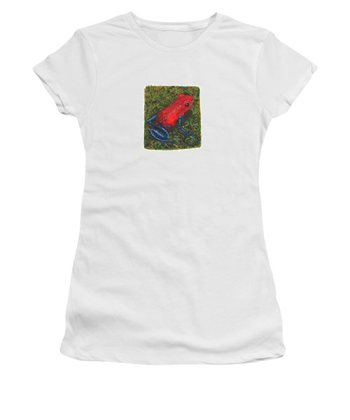 Strawberry Poison Dart Frog Women's T-Shirt (Junior Cut) by Cindy Hitchcock