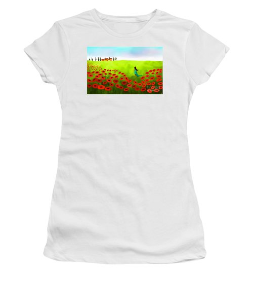 Strolling Among The Red Poppies Women's T-Shirt (Athletic Fit)