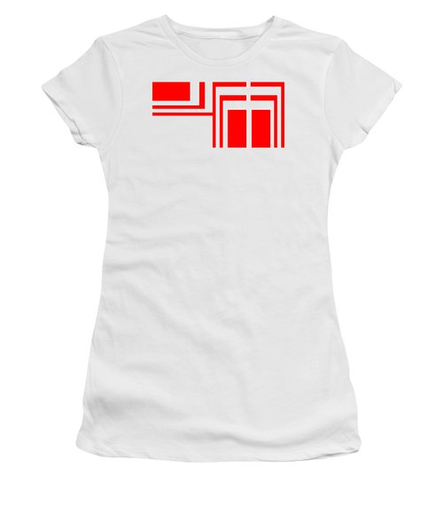 Study In White And Red Women's T-Shirt (Junior Cut) by Cletis Stump