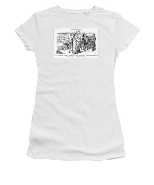 suez canal women s t shirts fine art america Persian Gulf suez canal cartoon 1869 women s t shirt