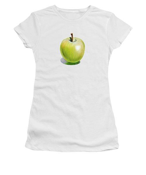 Women's T-Shirt (Junior Cut) featuring the painting Sun Kissed Green Apple by Irina Sztukowski