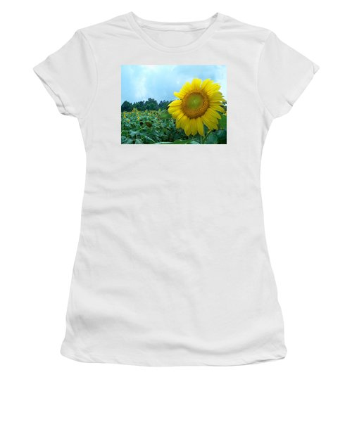 Sunflower Field Of Yellow Sunflowers By Jan Marvin Studios  Women's T-Shirt (Athletic Fit)