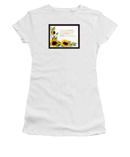 Sunflowers And Serenity Prayer Women's T-Shirt (Junior Cut) by Barbara Griffin