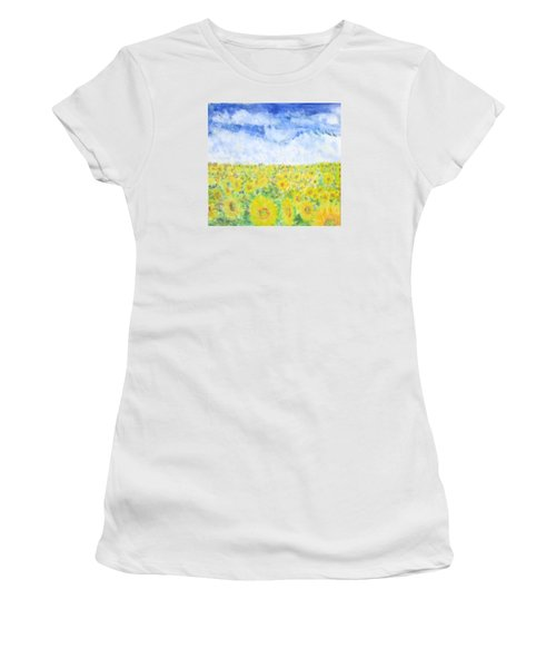 Sunflowers In A Field In  Texas Women's T-Shirt (Athletic Fit)
