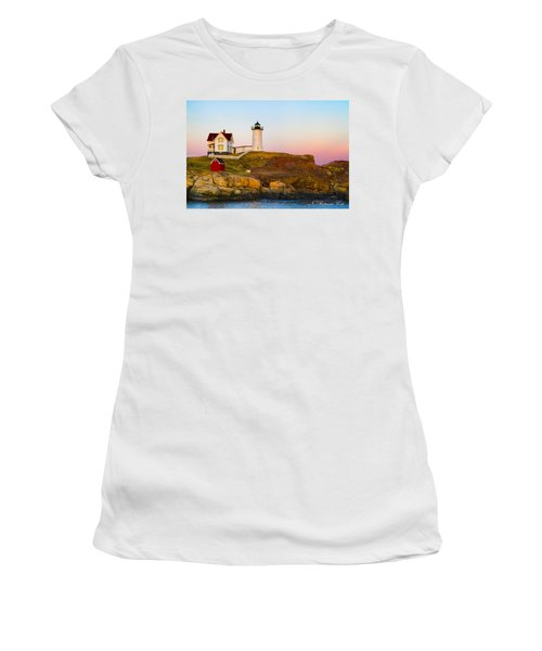 Sunset At Nubble Lighthouse Women's T-Shirt