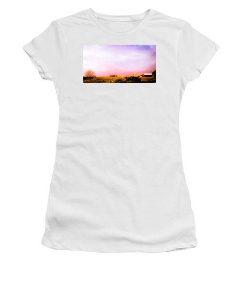 Women's T-Shirt (Junior Cut) featuring the photograph Sunset At The Farm by Sara Frank
