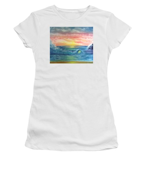 Sunset At The Seashore  Women's T-Shirt (Athletic Fit)
