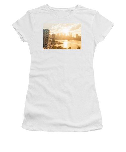 Sunset - Brooklyn Bridge - New York City Women's T-Shirt (Athletic Fit)