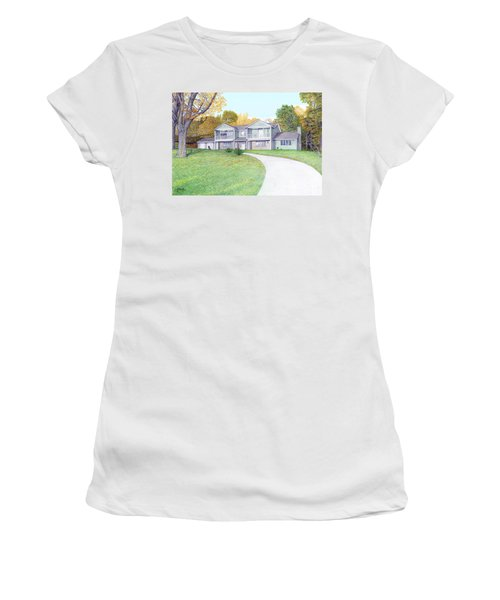 Women's T-Shirt (Junior Cut) featuring the painting Sunset House In Fall by Albert Puskaric
