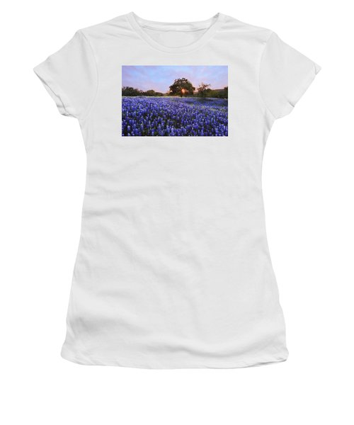 Sunset In Bluebonnet Field Women's T-Shirt (Athletic Fit)