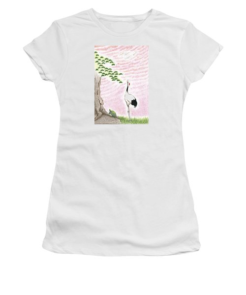 Women's T-Shirt (Athletic Fit) featuring the drawing Sunset by Keiko Katsuta