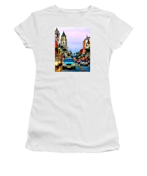 Women's T-Shirt (Junior Cut) featuring the digital art Sunset On Hollywood Blvd by Jennie Breeze